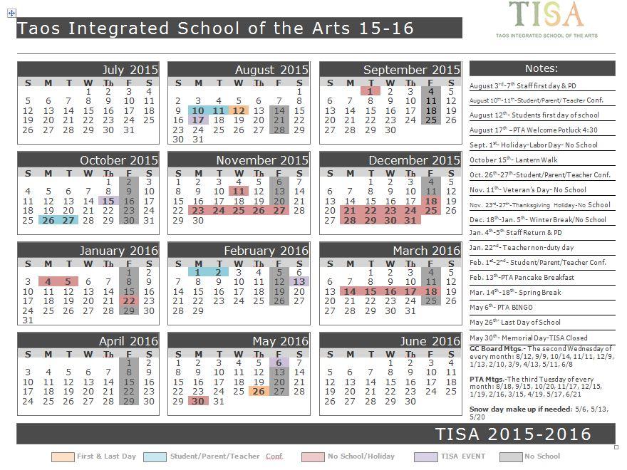 2015-2016 TISA Calendar